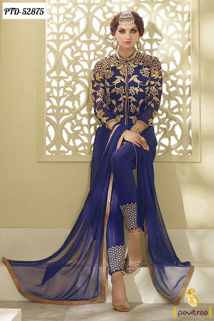 Blue color fancy anarkali dresses for party