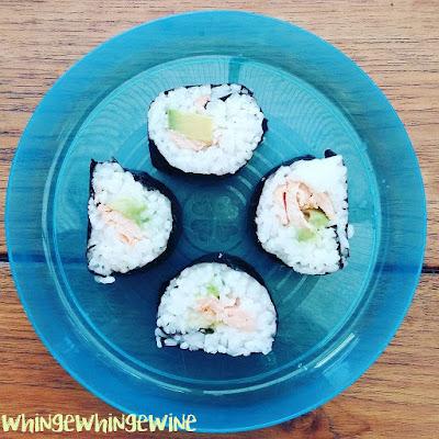 Hand made salmon sushi with Yutaka sushi kit