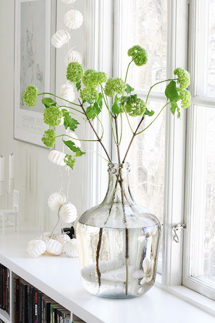 Clear glass bottle used as vase in window sill - found on Hello Lovely Studio