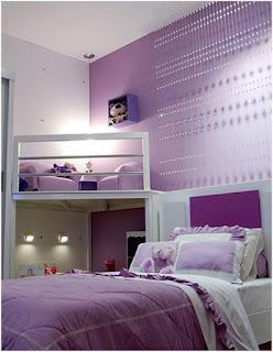 Dormitorio lila para chicas