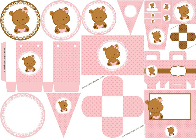 Teddy Bear in Polka Dots: Free Printable Mini Kit.