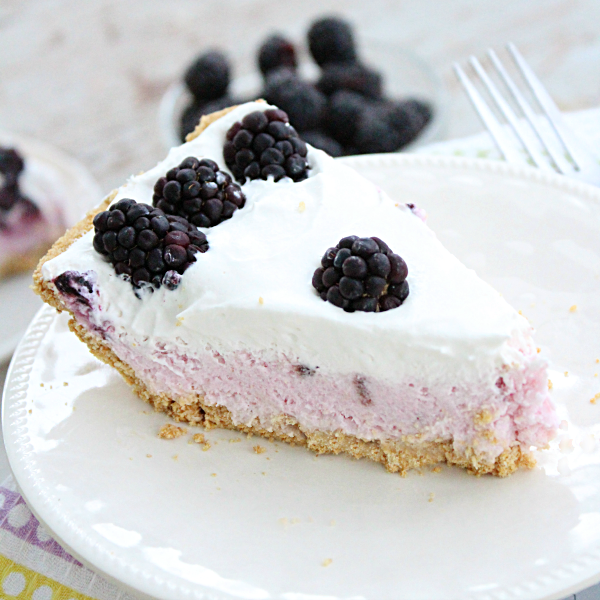 No Bake Blackberry Yogurt Pie