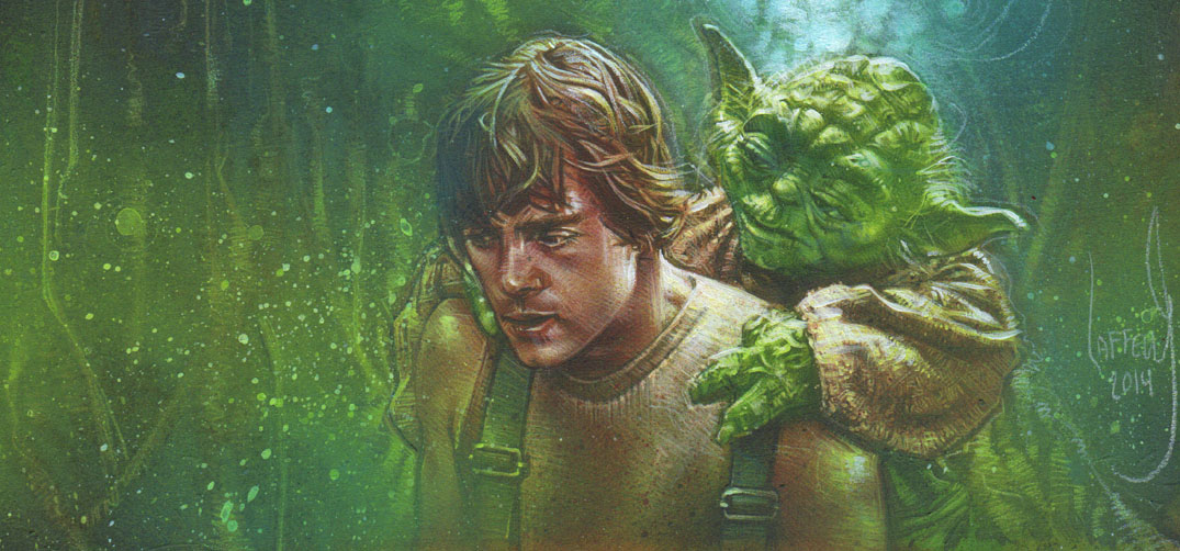 Mark Hamill as Luke Skywalker & Yoda, Original Painting by Jeff Lafferty