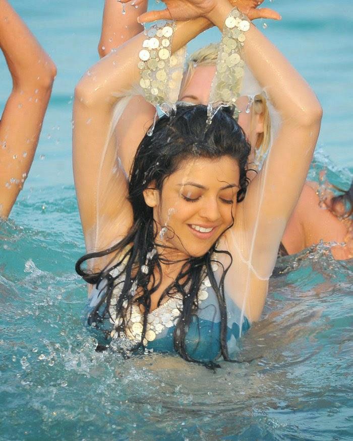 transparent hot dress agarwal Kajal wet