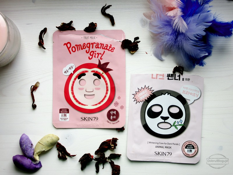 SKIN79, POMEGRANATE GIRL i ANIMAL MASK DARK PANDA. Owoc i zwierz na twarzy.