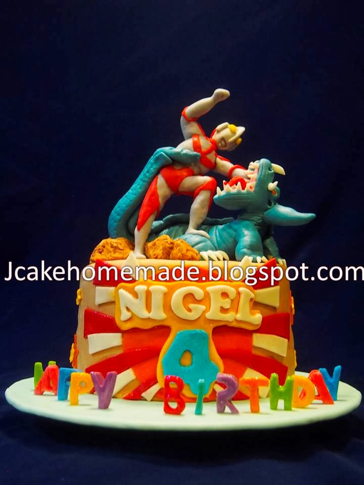 Jcakehomemade Ultraman Vs Dinosaur Birthday Cake奥特曼蛋糕