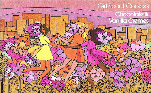 a 1973 Girl Scout cookies box illustration, chocolate and vanilla cream