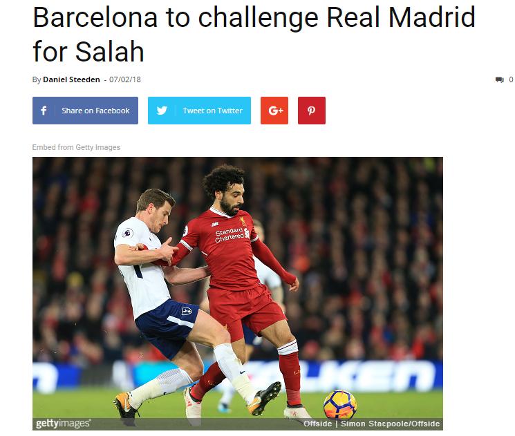 برشلونة يتحدى ريال مدريد من أجل الفوز بمحمد صلاح