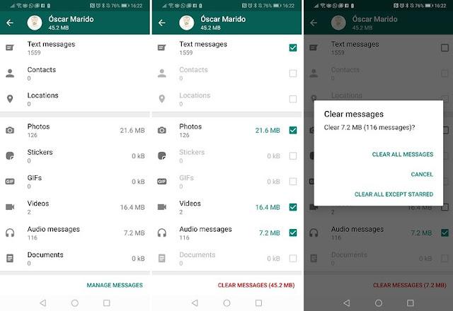 whatsapp حذف استخدام تخزين