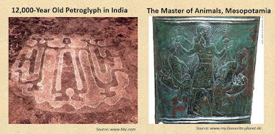 12,000-year-old petroglyphs of Ratanagiri, India, depict the Master of Animals.