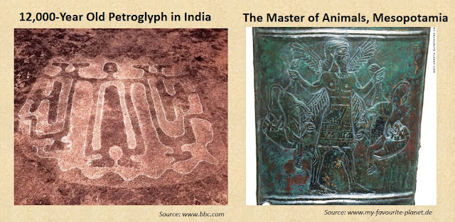 12,000-year-old petroglyphs of Ratanagiri, India, depict the Master of Animals.