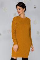 Rochie Sabrina galben mustar tricotata