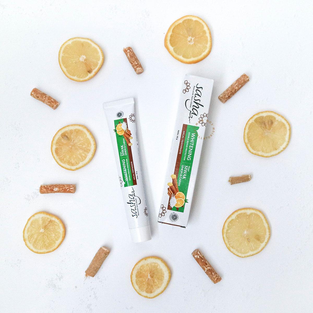 Sasha Inovasi Pasta Gigi Halal Dengan Serpihan Siwak Asli Herbal Whitening
