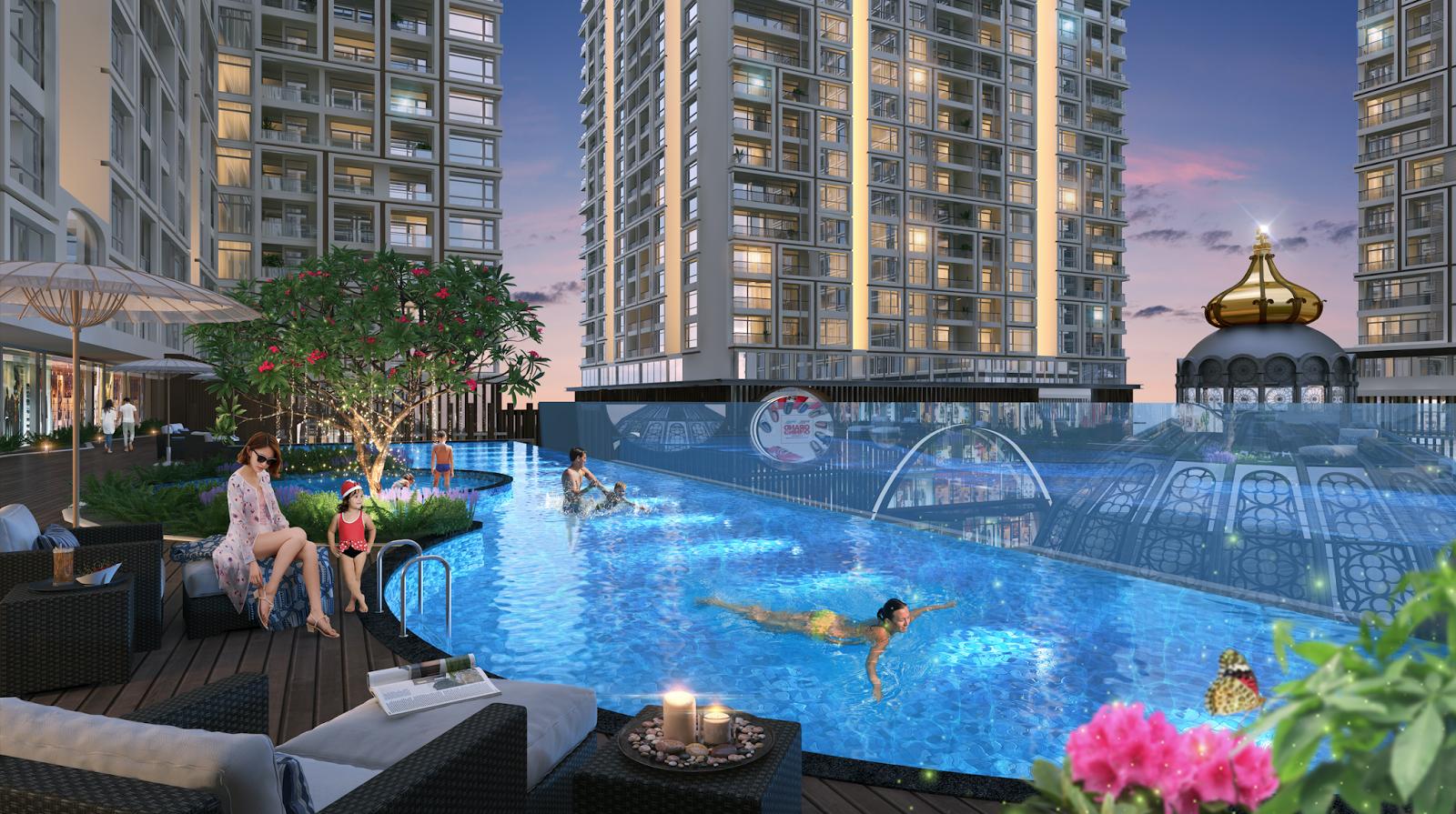 Bể bơi ngoài trời của dự án Hinode City 201 Minh Khai