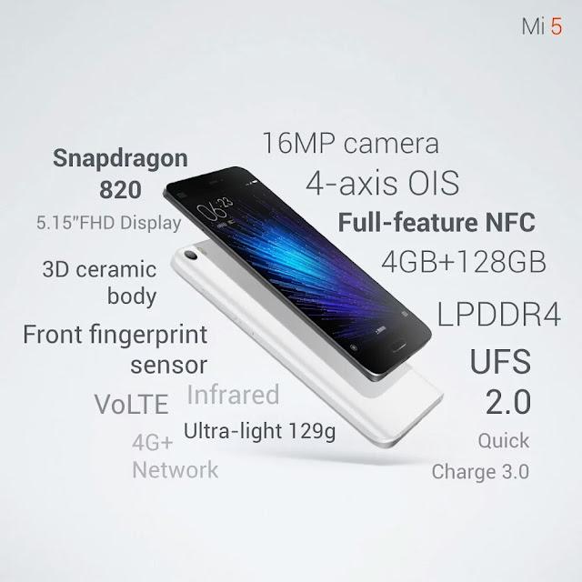Spesifikasi dan fitur Xiaomi Mi5