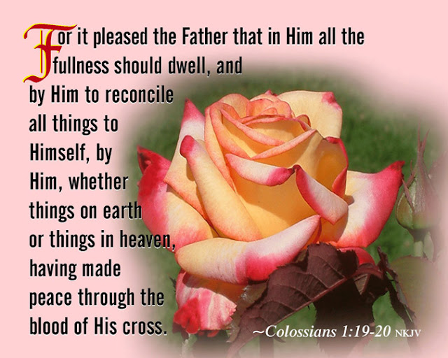 For God was pleased to have all his fullness dwell in him, and through him to reconcile to himself all things, whether things on earth or things in heaven, by making peace with his blood, shed on the cross.