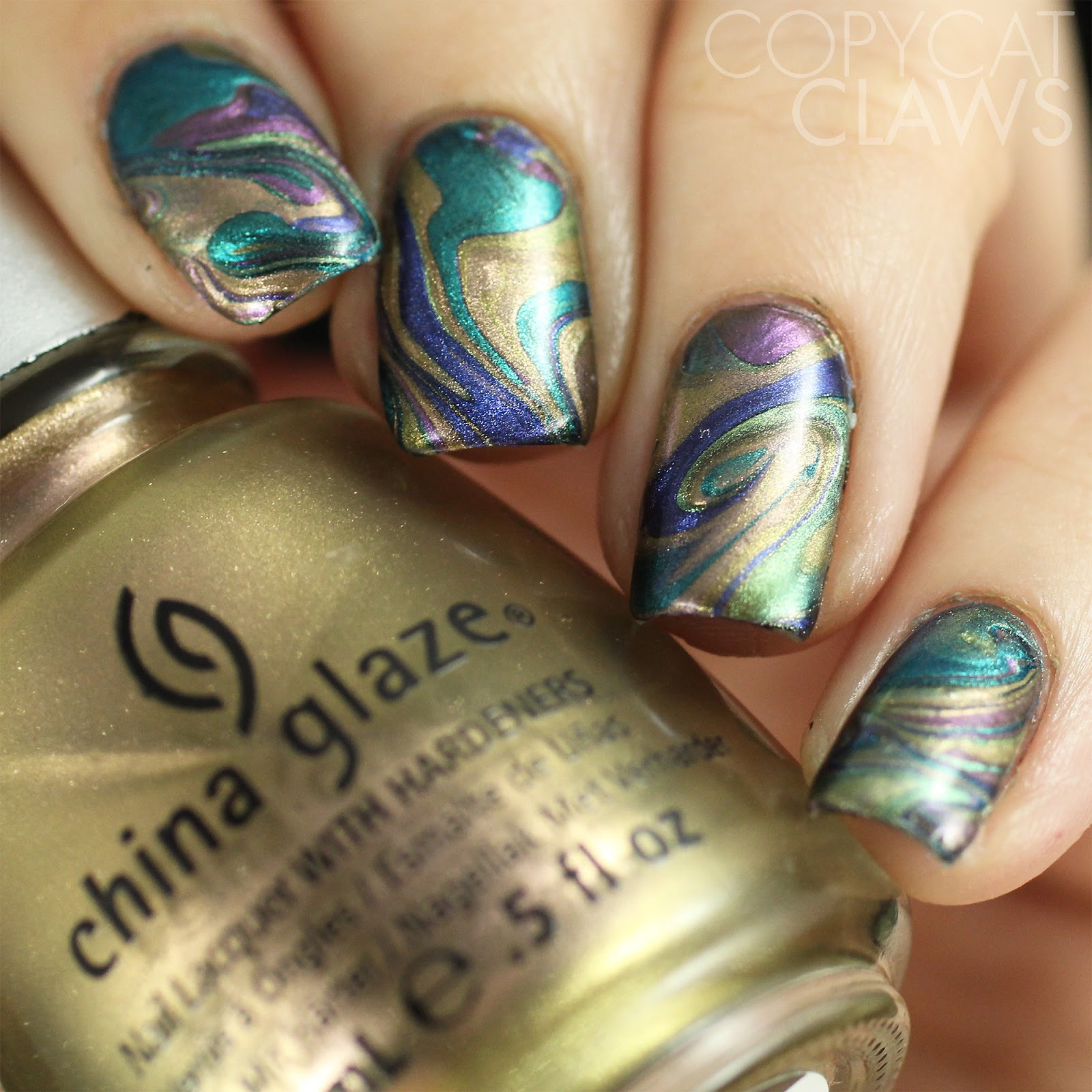 Copycat Claws: Oil Slick Drip Marble Nails