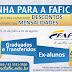 FAFIC OFERECE DESCONTOS DE ATÉ 40% NAS MENSALIDADES PARA TRANSFERIDOS E GRADUADOS