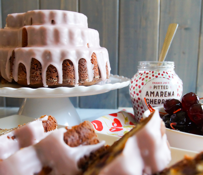 Amarena Cherry and Chocolate Marbled Heart Bundt Cake