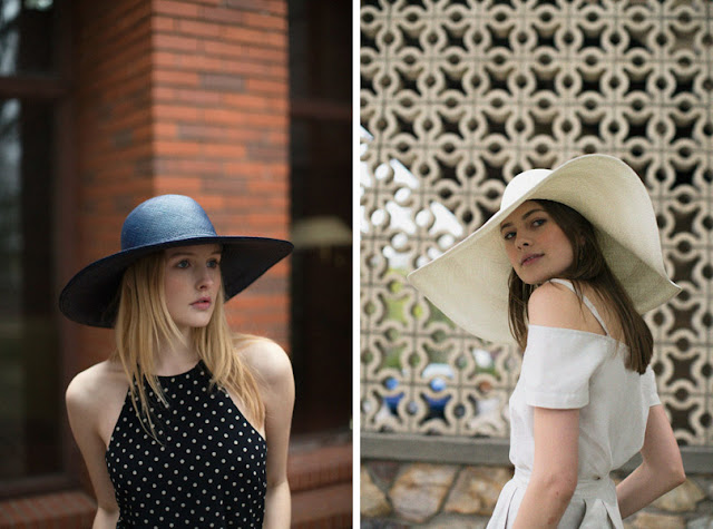 Девушка в летней широкополой шляпе в городе