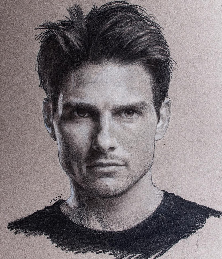 17-Tom-Cruise-Justin-Maas-Pastel-Charcoal-and-Graphite-Celebrity-Portraits-www-designstack-co