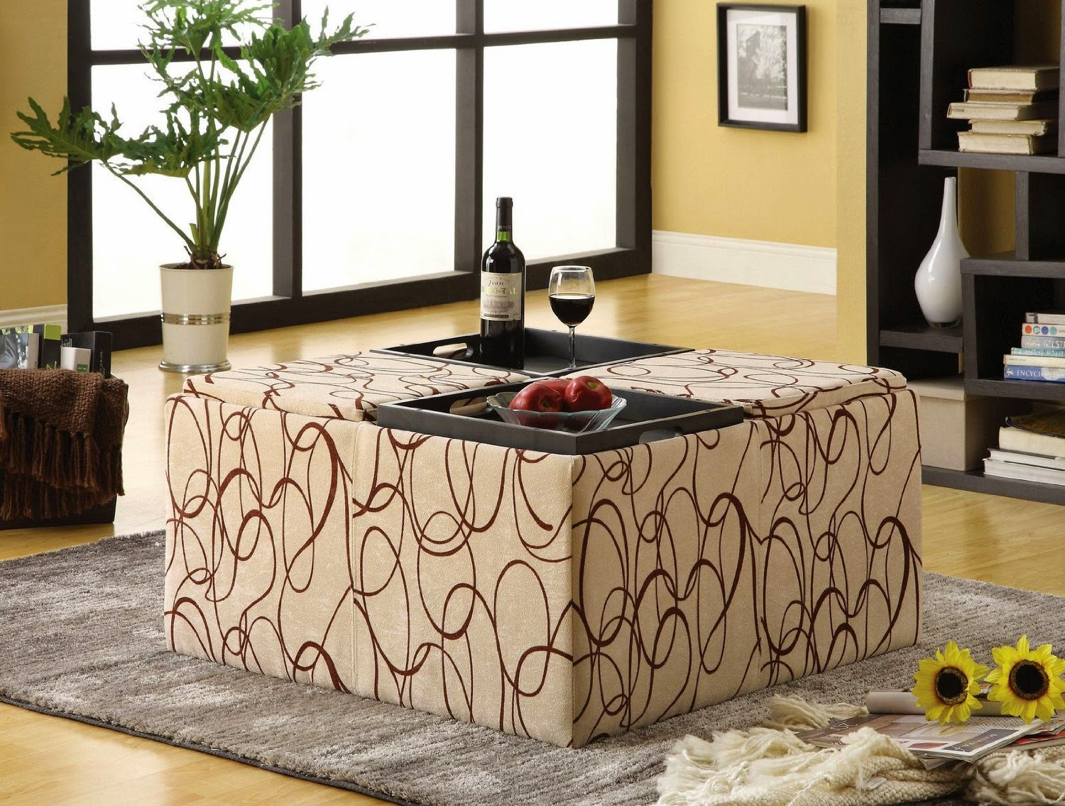 Sonlux Perfect And Comfortable Fabric Ottoman Coffee Table
