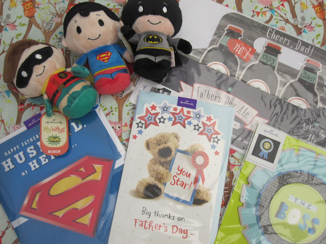 Selection of Father's Day along with 3 small superhero toys