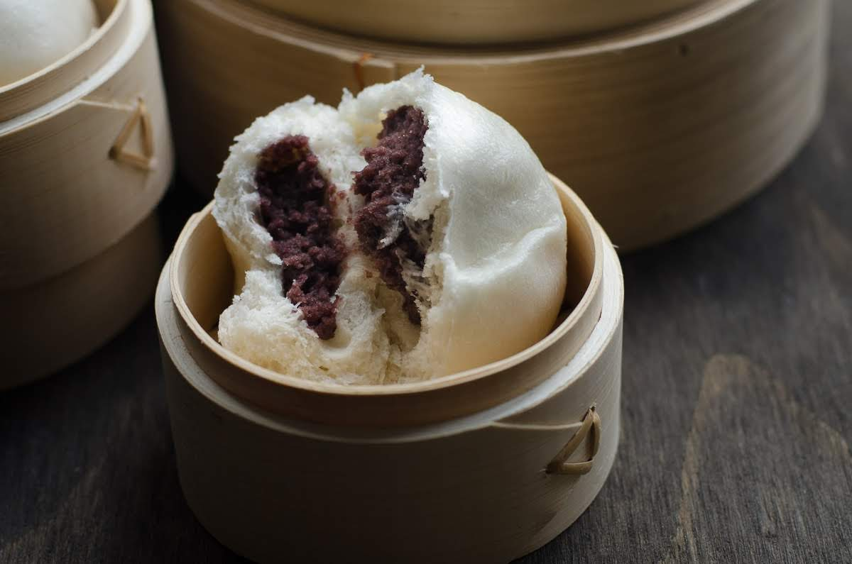 Soft and fluffy red bean steamed buns