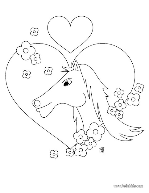 Horse In Love Horse In Love Coloring Page