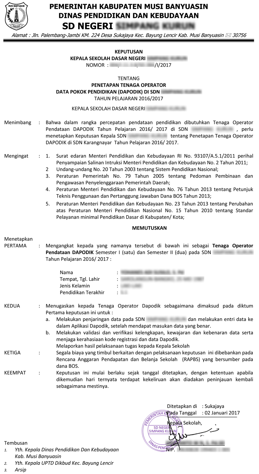Download Contoh Sk Operator Terbaru 2017 Foppsi Sumatera Selatan