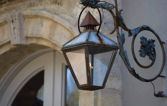 Antique Iron Lantern Sconce via Chateau Domingue as seen on linenandlavender.net