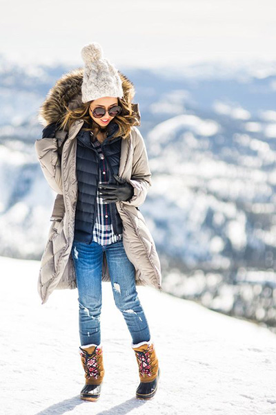 best outfit idea to wear this winter / knit hat + coat + black vest + sweater + rips + boots