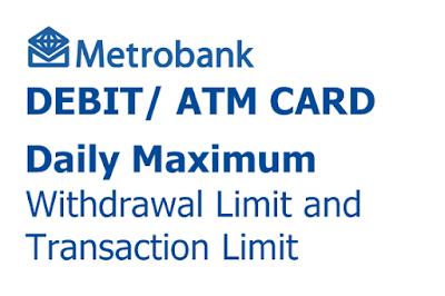 Magkano ang maximum withdrawal at transaction limit ng Metrobank Debit/ ATM Card per day ...