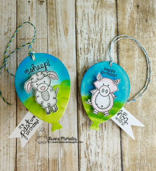 Oh Sheep by Diane features Farmyard Friends and Balloon Shaker by Newton's Nook Designs; #newtonsnook