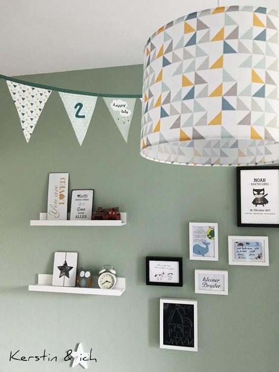 Kinderzimmer Junge Mintfarben Bilder Wimpelkette
