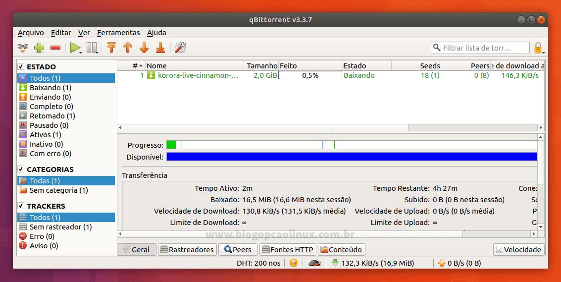 qBittorrent executando no Ubuntu 17.10 (Artful Aardvark)