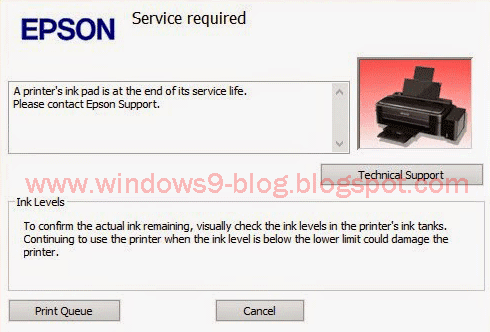 Epson L110, L210, L300, L350, L355 service required , Download the resetter