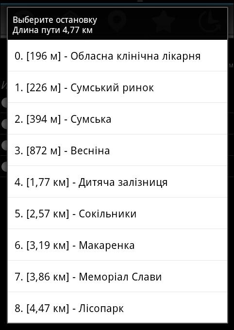 Список остановок на маршруте