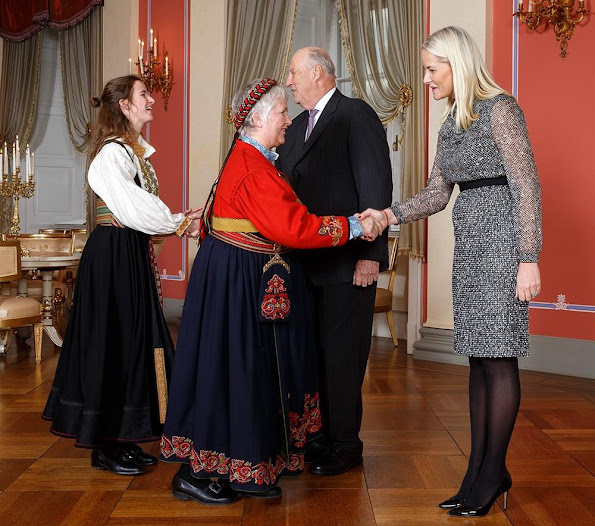 King Harald V of Norway and Crown Princess Mette-Marit of Norway hosted a reception at the Royal Palace