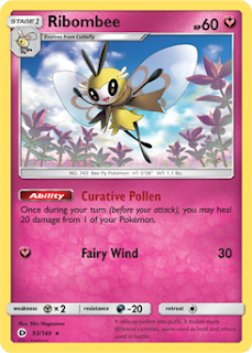Ribombee Sun and Moon Pokemon Card