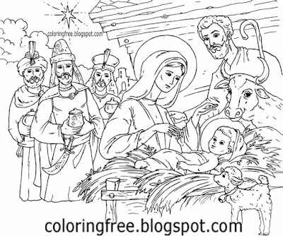 Teens printable baby Jesus born Bethlehem free download Christmas coloring nativity scene pictures
