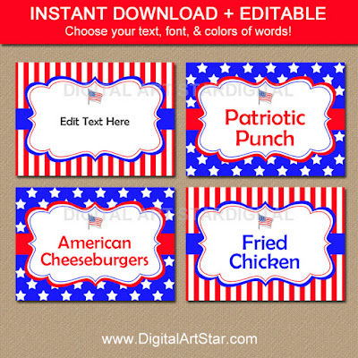 4th of July food labels and tent cards - edit the text in Adobe Reader