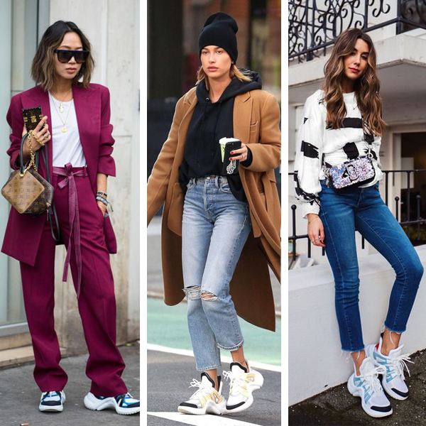 Louis Vuitton Archlight sneaker outfits street style, dad sneaker trend
