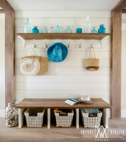 Simple Coastal Entryway Storage Ideas with Benches ...