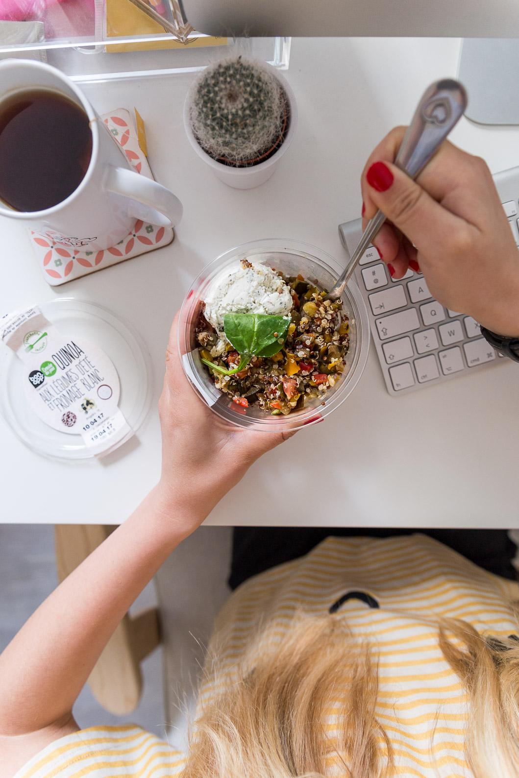 Pause déjeuner bureau freelance