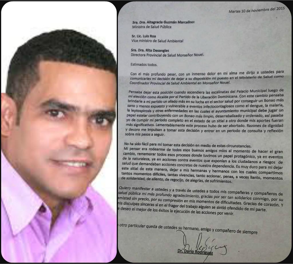 Resultado de imagen para carta de renuncia de dario rodriguez del prm