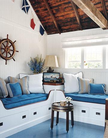 Beam ceilings exposed - Nautical theme living room ...