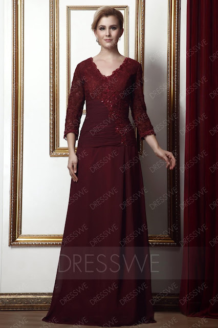 Gorgeous Sheath/Column V-neck 3/4-Length-Sleeve Alina's Mother of the Bride Dress