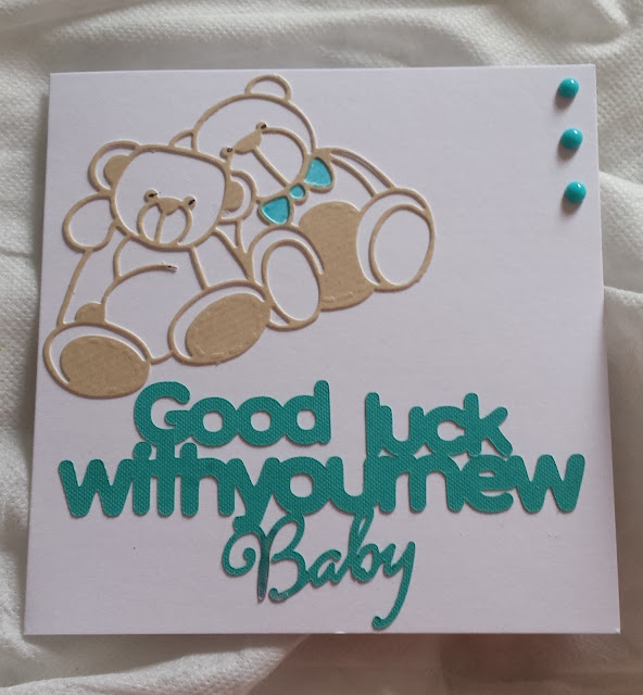 Good luck with your new baby - Teddy bears - white square card