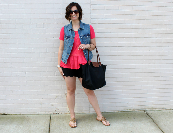 Piper Street Shop, casual style, denim vest, scallop shorts